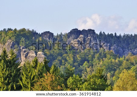 The Saxon Switzerland with the bastion solid in Rathen. - stock photo