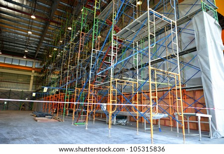 The scaffolding make for worker renovate building - stock photo