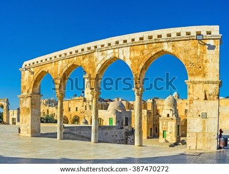 The Scales of Souls  colonnade separates the square, surrounding the Dome of the Rock, and the landmarks, located on the lower level - the Temple platform, Jerusalem, Israel.