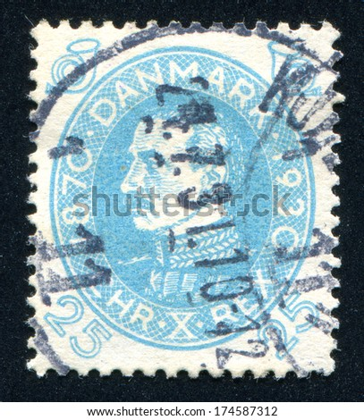 The scanned stamp. Ancient stamp. Portrait of the man. - stock photo