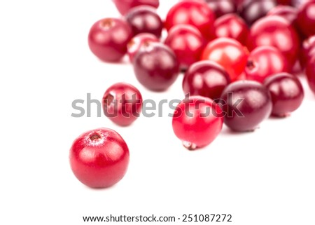 The scattered ripe red cranberries on white background