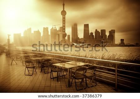 the scene of the city shanghai china. - stock photo