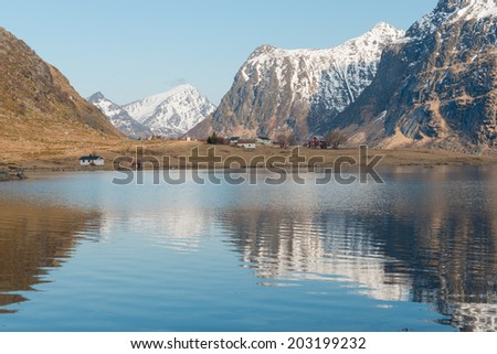 The scenery of the Lofoten Islands in spring, Flakstad,Norway