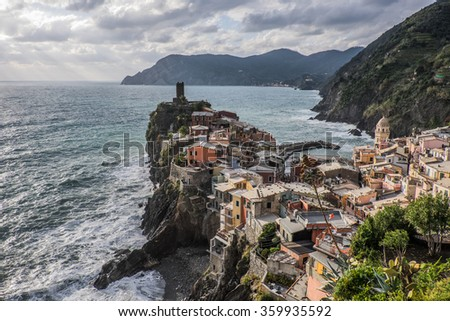 The scenic view of Vernazza, Cinque Terre, Italy. It is the world heritage village which locates over the sea cliff of Italian west coast.