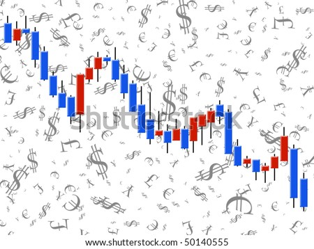 The schedule forex in the form of candles against the white background - stock photo