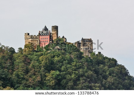 The Schonburg is a castle above the medieval town of Oberwesel - stock photo