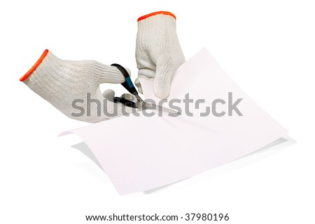 the scissors cut a paper - stock photo