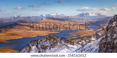The Scottish Highlands. View from the Old Man of Storr on a beautiful spring afternoon - Isle of Skye, Scotland, UK - stock photo