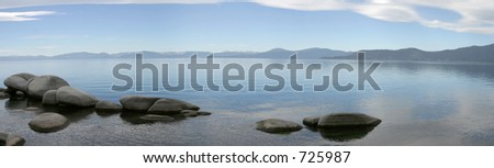 The sculptural boulders of Lake Tahoe's east shore. - stock photo