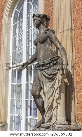 The sculpture of a naked woman at the wall of the new Sanssouci Palace. Potsdam. Germany