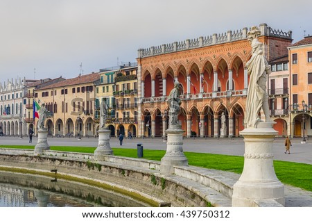 The sculptures and buildings of Prato della Valle, Padova, Italy