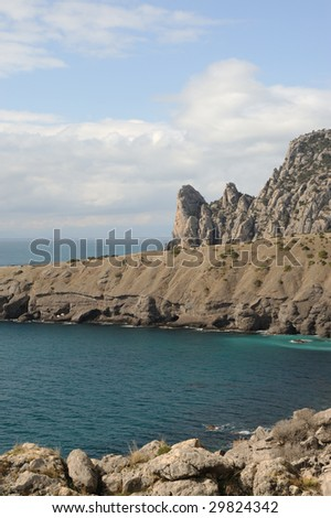 The sea and mountains.Picturesque mountains and the black sea, Crimea, Ukraine