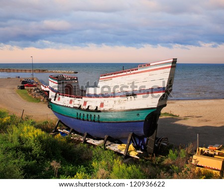 The Sea Lion Is A Replica Of A Late 16th Century British Three Masted, Square Rigged Sailing Ship Now Sitting Idle On Lake Erie At Barcelona Beach, Westfield New York, USA - stock photo