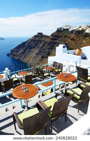 The sea view terrace at luxury hotel, Santorini island, Greece - stock photo