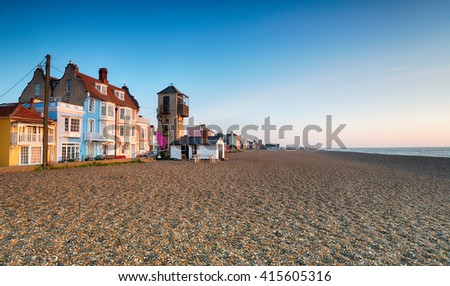 The seafront and beach at Aldeburgh on the Suffolk coast - stock photo