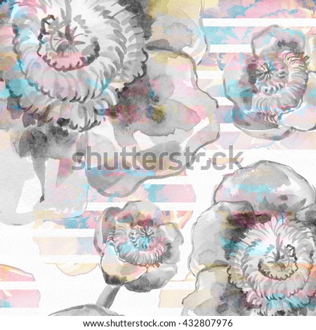 The seamless exotic background drawn with water color paints. Picturesque drawing brush.Watercolor background. Fabric for rest. Tropical drawing .Color llustration of flowers watercolor paintings    - stock photo