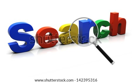 The search text under a magnifier lens - stock photo