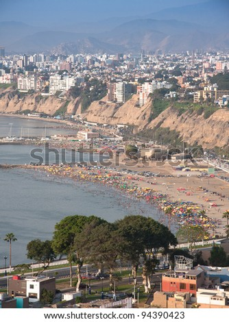 The seaside road in Chorrillos,  with a view on the coastline of Southern Lima in Summer - stock photo