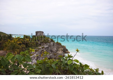 The seaside view of the God of Winds Temple in Tulum, Yucatan, Mexico - stock photo