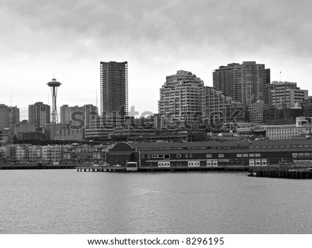 The Seattle skyline and waterfront in Washington. - stock photo