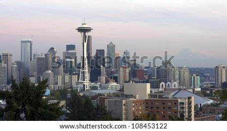 The Seattle Skyline Buildings Space Needle from Washington's Queen Anne Hill - stock photo