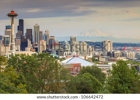 The Seattle skyline from Kerry Park - stock photo