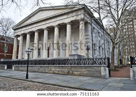 The Second Bank of America in historic old city Philadelphia, Pennsylvania.