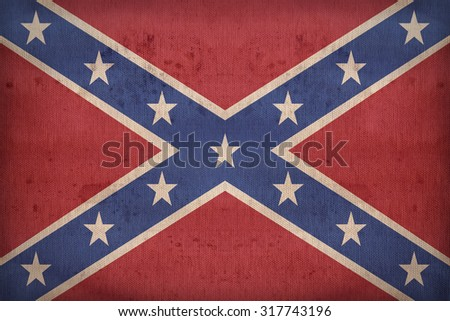 The Second Confederate Navy Jack of the United States flag pattern on fabric texture,retro vintage style