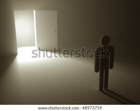 "The secret door to success. The open door is a concept of the opportunity and hopefulness to reach the success. The chance to leave the dark room. ""Light at the End of the Tunnel"" (saying)."