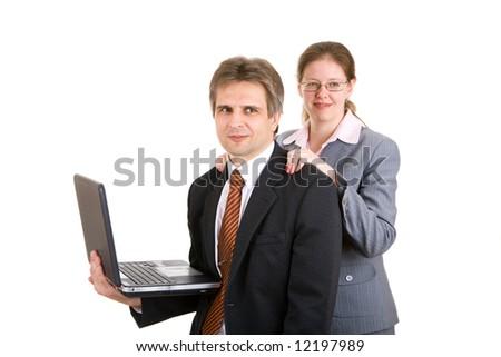 The secretary does massage to boss - stock photo