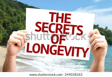 The Secrets of Longevity card with a beach on background - stock photo