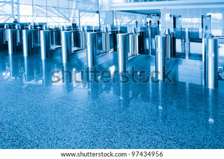 The security checkpoint at the airport - stock photo
