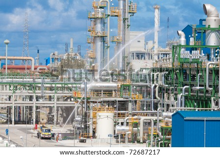 The security section testing there anti fire and safety systems in the petrochemical plant - stock photo