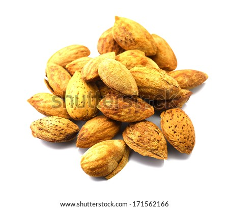 The seeds are shelled almonds. - stock photo