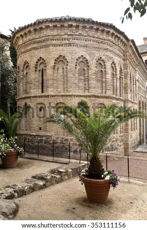 The semi-circular apse in mudejar style of the Mosque of Cristo de la Luz in Toledo, Spain - stock photo