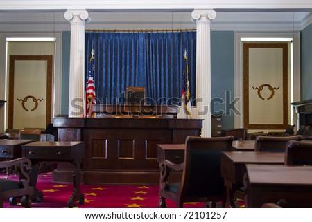The senate chamber in North Carolina historic capitol - stock photo