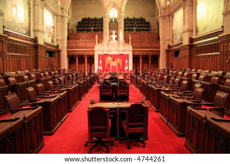 The Senate Chamber of Canada's Parliament - stock photo
