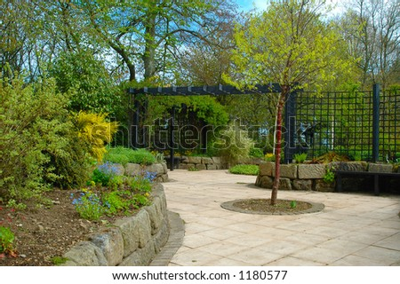 The sensory garden at Aden House Aberdeenshire - stock photo