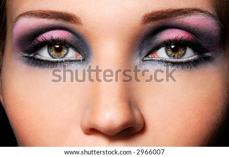 The sensual eyes, beautiful make up and bright colorer