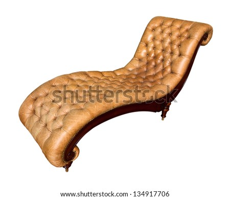 The sepia of sofa bed genuine leather upholstery - stock photo