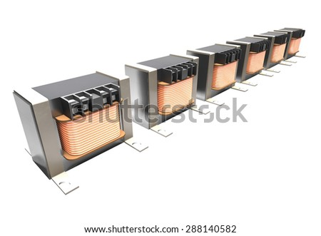 The sequence of industrial transformers are on a white background.