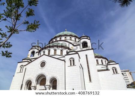 The Serbian Orthodox Christian Church of St. Sava - stock photo