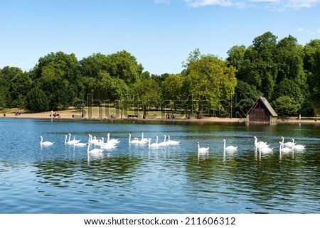 The Serpentine Lake at Hyde Park in London, UK - stock photo