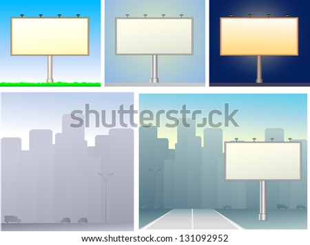 The set of billboards and urban silhouette skyscraper - stock photo