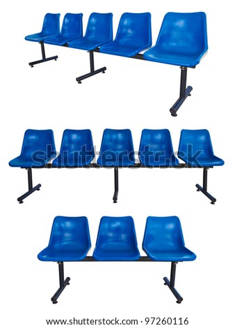 the set of blue plastic chairs at the bus stop isolated on white - stock photo
