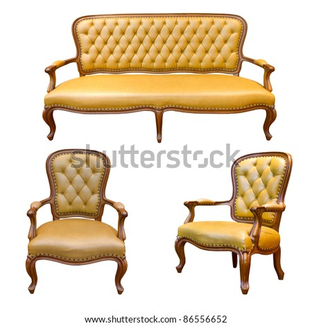 The set of Brown luxury sofa isolated on the white background - stock photo