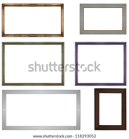 the set of Classic wooden frames isolated on white background - stock photo