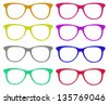 the set of colorful glasses isolated on white background with clipping parts - stock photo