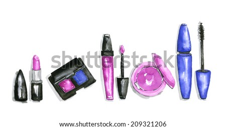 The set of pink cosmetics - stock photo