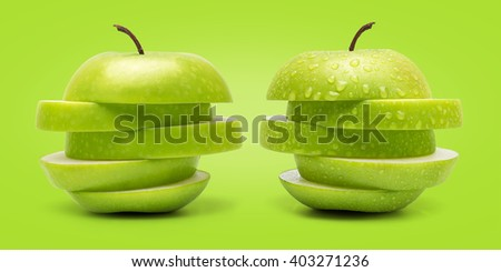 The Set of Prefect Cleaned Green Apple Isolated on Green Background in Full Depth of Field. - stock photo
